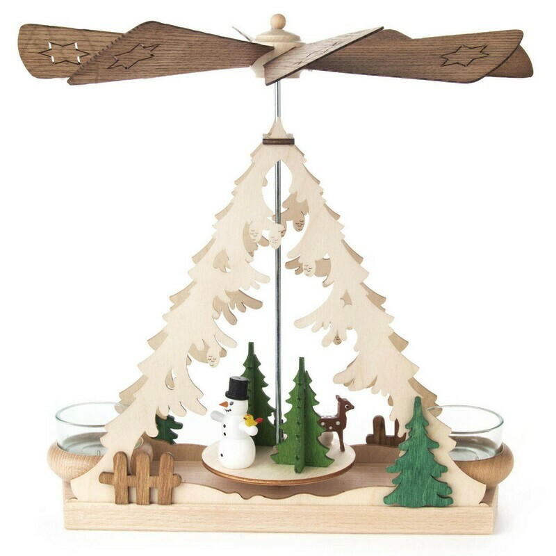 Snowman Christmas Tree Tealight German Pyramid