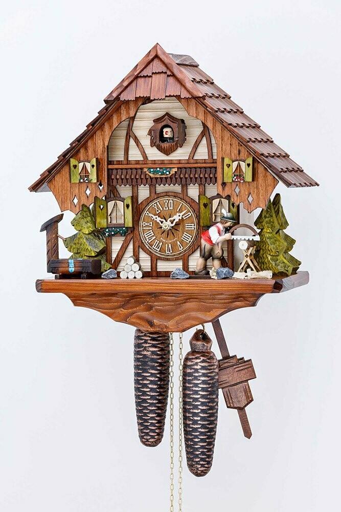 8-Day Saw Man Chalet Cuckoo Clock