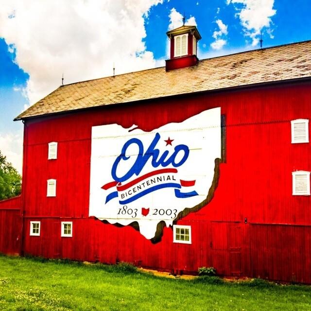 Ohio Bicentennial Red Barn Coaster