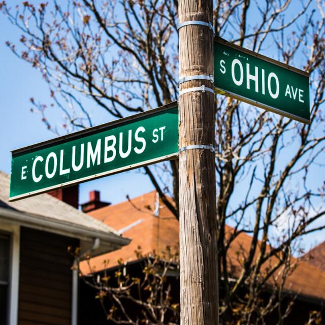 Columbus and Ohio Street Signs Coaster