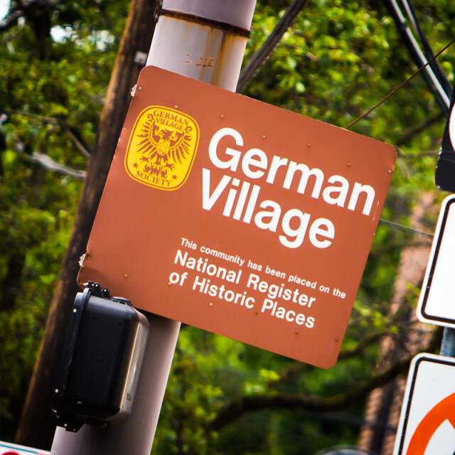 German Village Sign Coaster