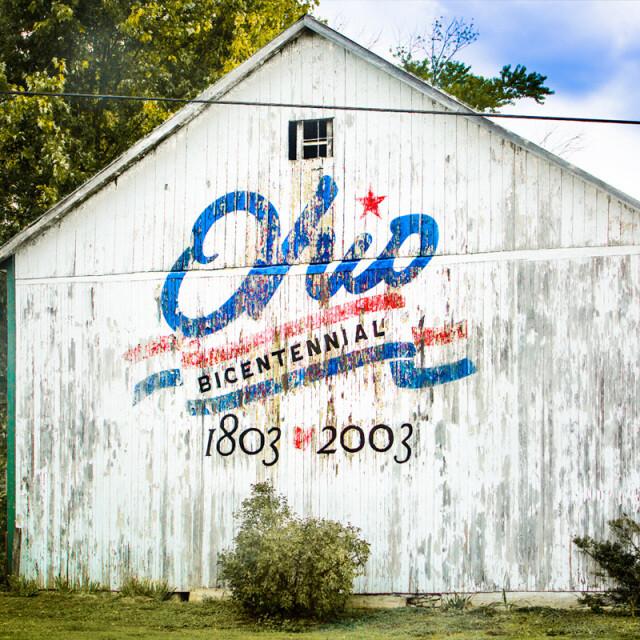 Ohio Bicentennial White Barn Coaster