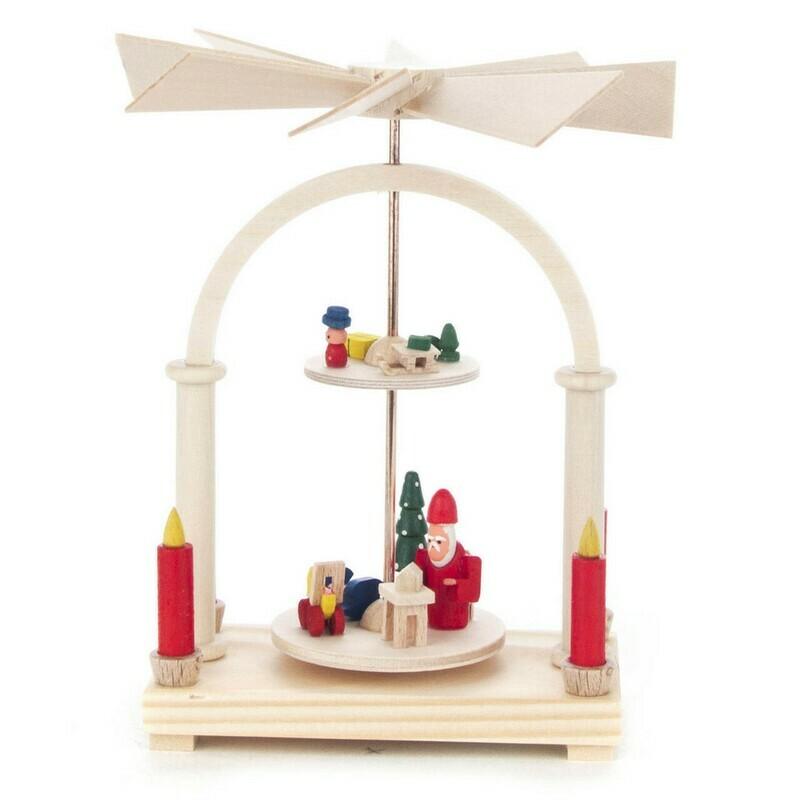 2 Level Miniature Pyramid Santa Workshop