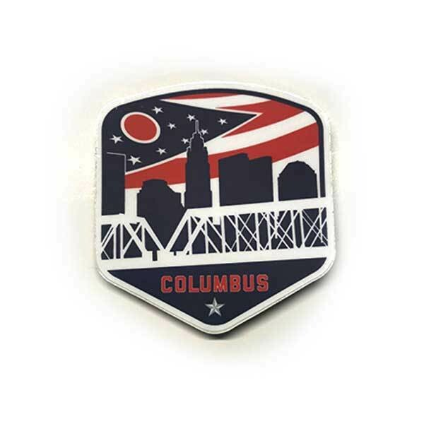 Columbus Ohio Flag Shield Vintage Sticker