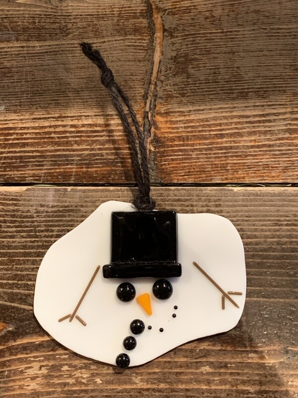 Melted Snowman Glass Ornament