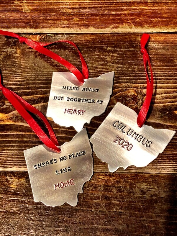 Hand Stamped Ohio Ornament
