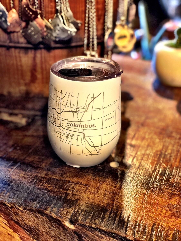 Columbus Street Map Insulated 12 oz Wine Tumbler