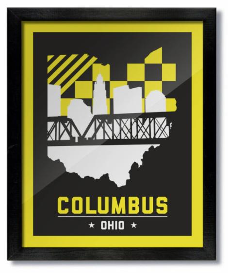 Columbus Skyline Yellow & Black Print
