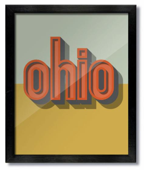 Ohio Drop Shadow Print