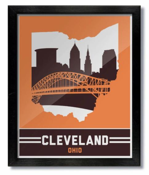Cleveland Skyline Orange Brown Print