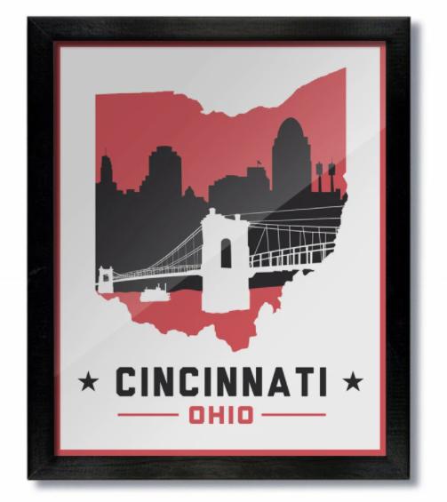 Cincinnati White & Red Print