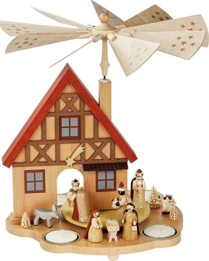 Nativity German House Tealight Pyramid