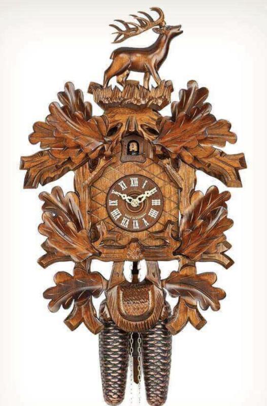 8-Day Carved Deer Cuckoo Clock