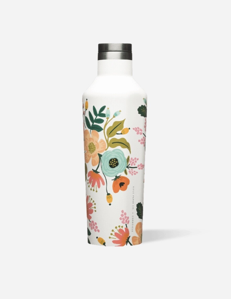 Corkcicle 16oz Canteen LIVELY FLORAL CREAM