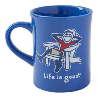 Life is good Diner Mug Vintage Adirondack Jake ROYAL BLUE