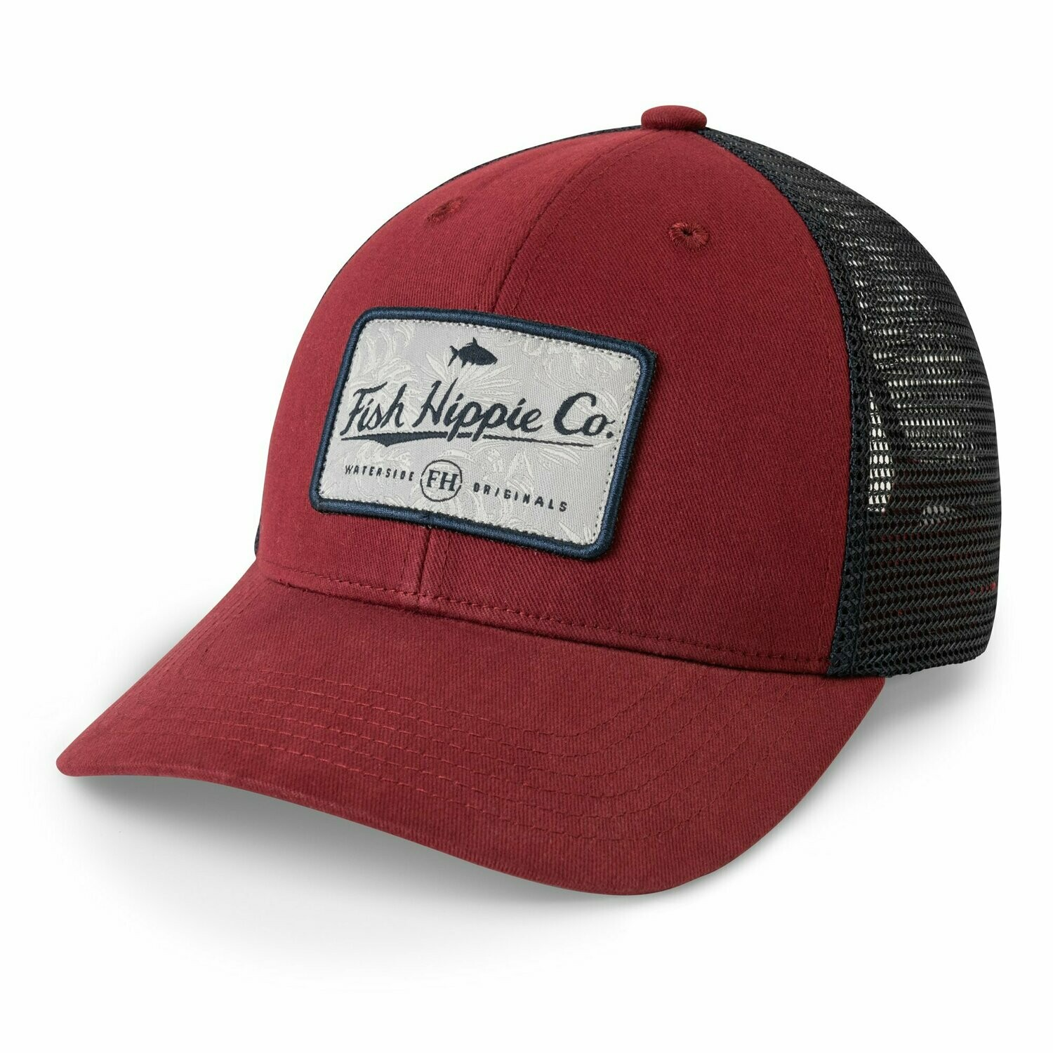 Fish Hippie Trucker Hat Take Cover DEEP RED