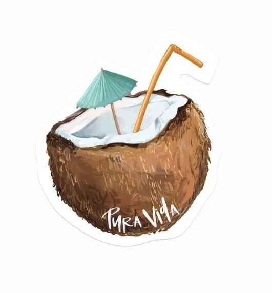 Pura Vida Sticker: Coconut
