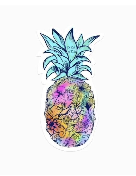 Pura Vida Sticker: Floral Pineapple
