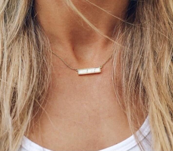 Pura Vida Howlite Bar Necklace