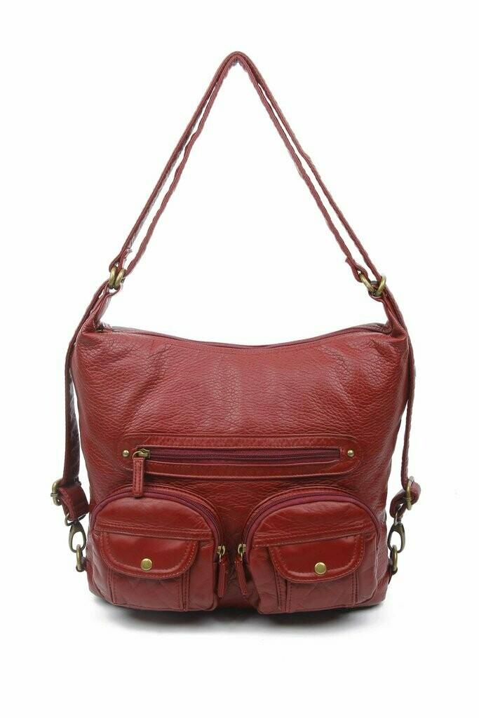 Ampere Convertible Crossbody Backpack: BURGUNDY