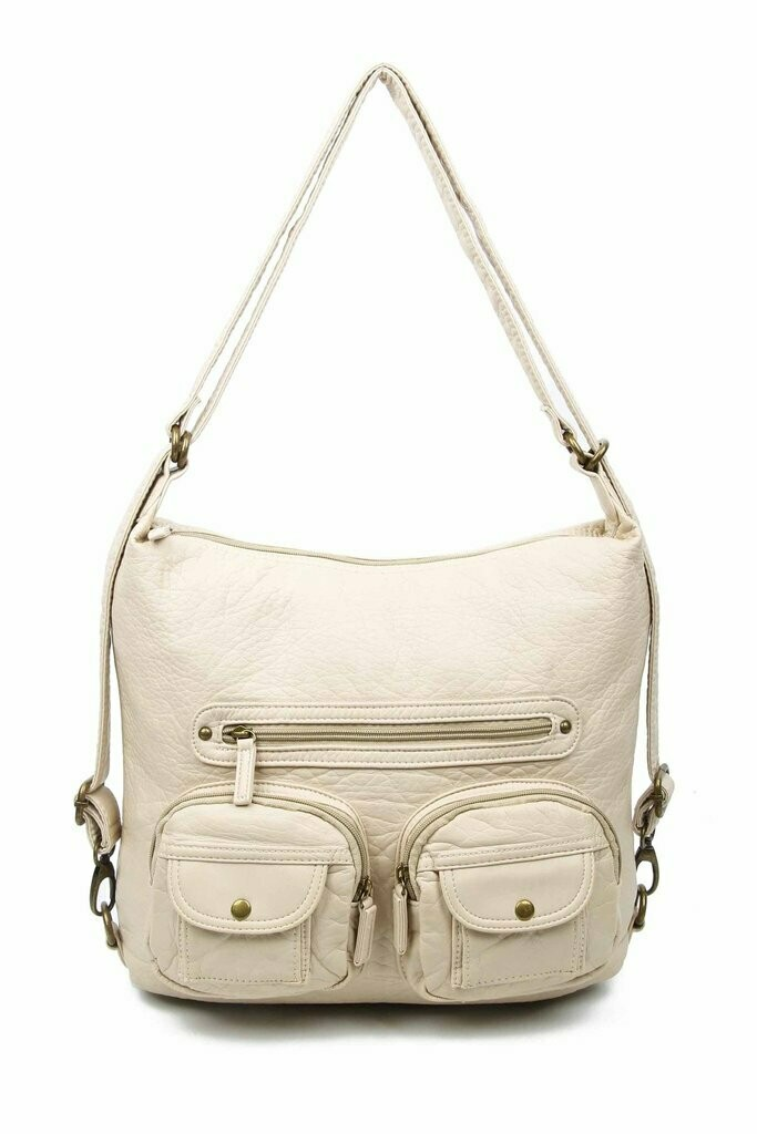 Ampere Convertible Crossbody Backpack: TAUPE