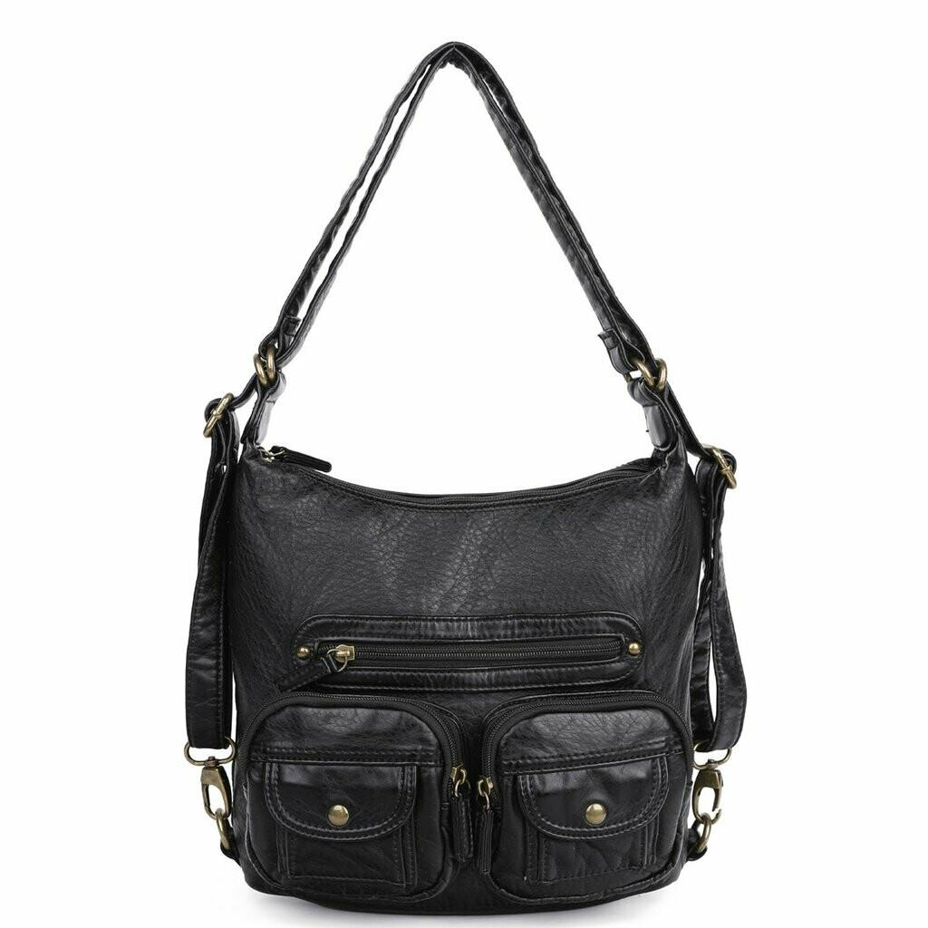 Ampere Convertible Crossbody Backpack: BLACK