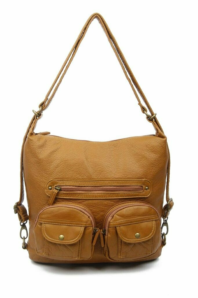 Ampere Convertible Crossbody Backpack: LIGHT BROWN
