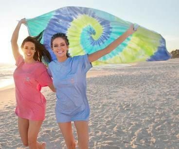 Southern Marsh Beach Towel Tie-Dye LIME/TEAL