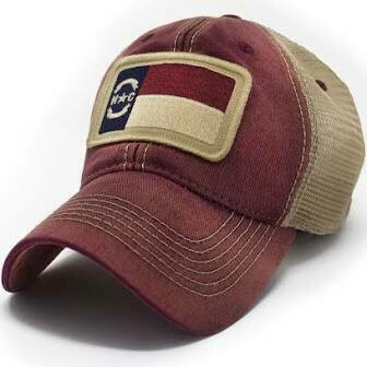 S.L. Revival Co. Trucker Hat NC Flag Patch: BRICK RED