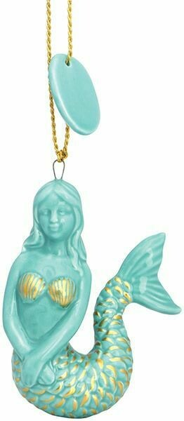 Cape Shore Christmas Ornament: Ceramic Mermaid TURQUOISE & GOLD