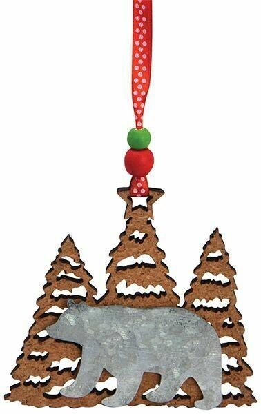 Cape Shore Christmas Ornament: Cork & Metal BEAR