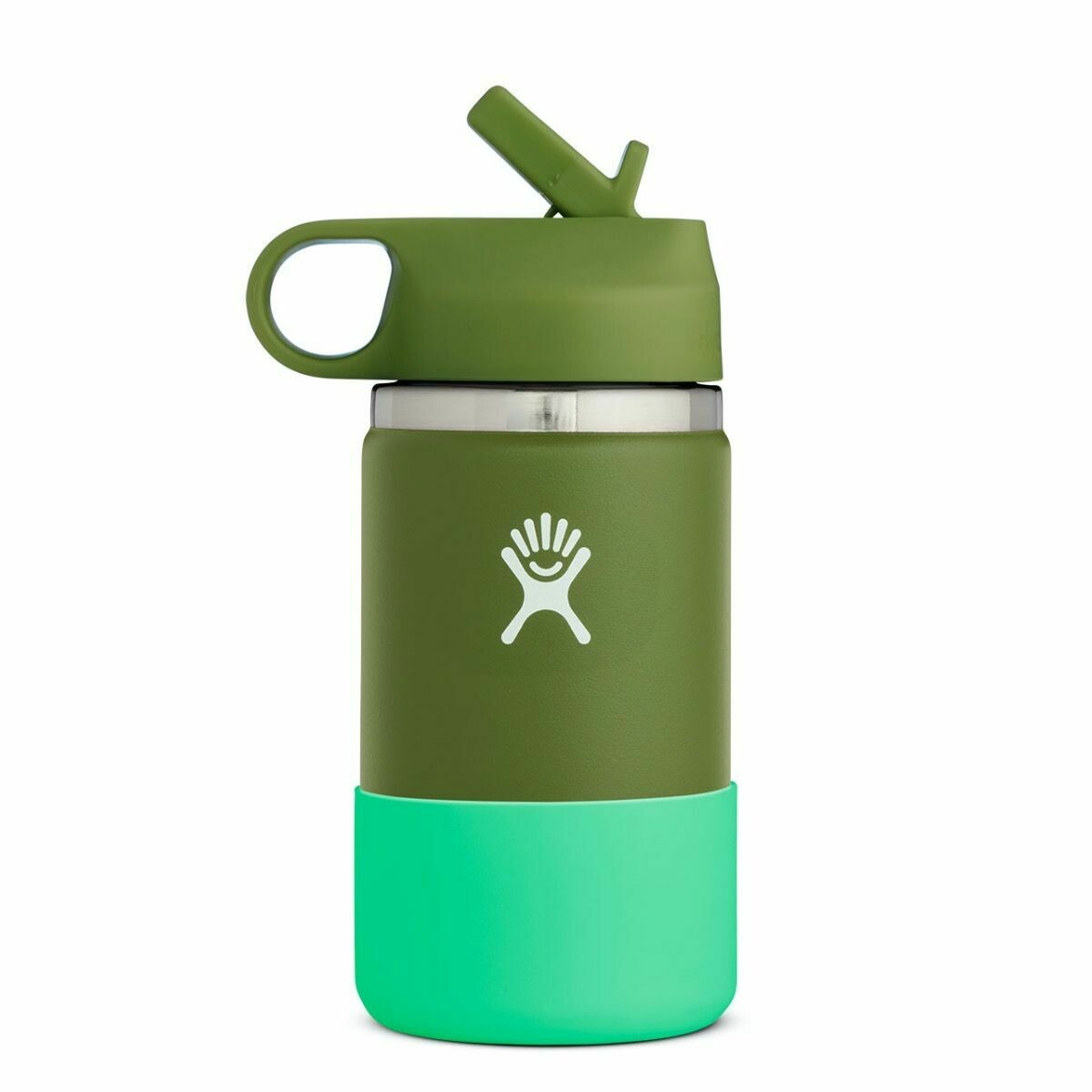 Hydro Flask 12 oz Kids Wide Mouth w/Straw Lid & Boot OLIVE