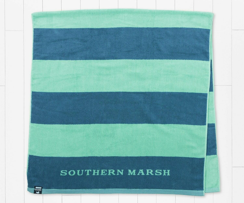 Southern  Marsh Beach Towel Stripes NAVY/MINT