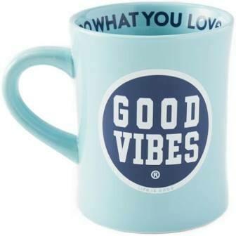 Life is good Diner Mug Good Vibes Coin BEACH BLUE