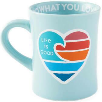 Life is good Diner Mug Wave Heart BEACH BLUE