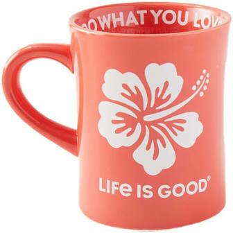 Life is good Diner Mug Hibiscus MANGO ORANGE