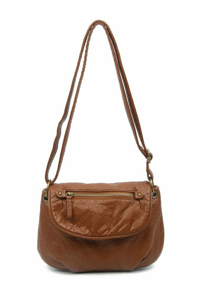 Ampere Bonnie Saddle Small Crossbody: BROWN