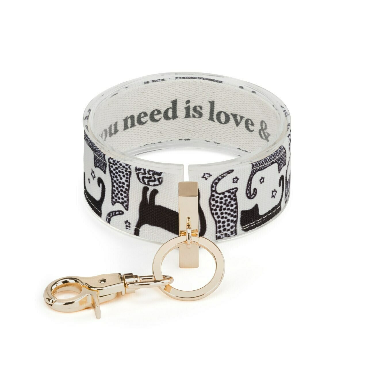 Demdaco Wrist Strap Key Ring ALL YOU NEED IS LOVE & A CAT