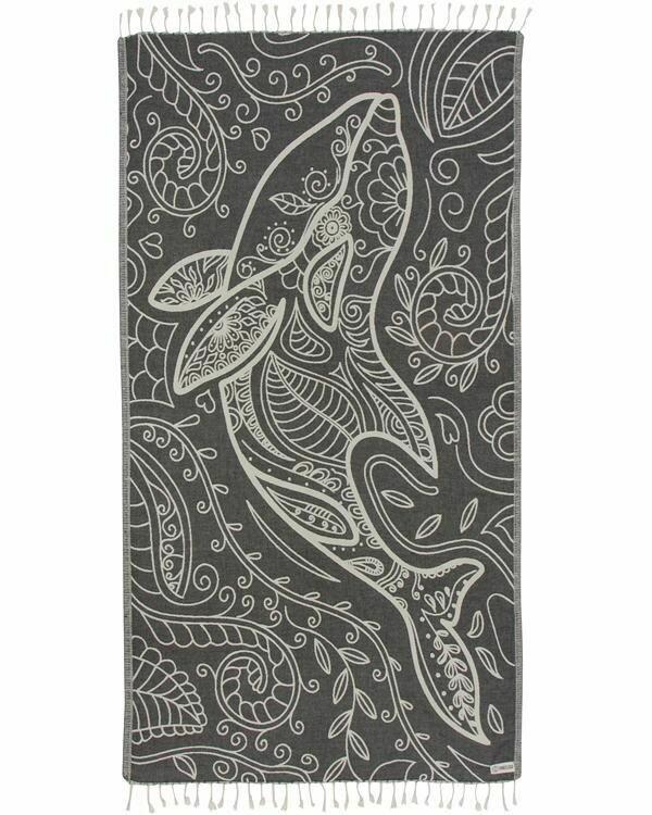 Sand Cloud Floral Dolphin Towel BLACK