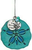 Cape Shore Christmas Ornament: Wood with Metal Charm SAND DOLLAR - ON BEACH TIME