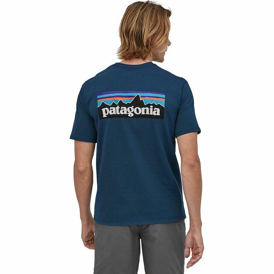 Patagonia M SS P-6 Logo Responsibilitee CRATER BLU