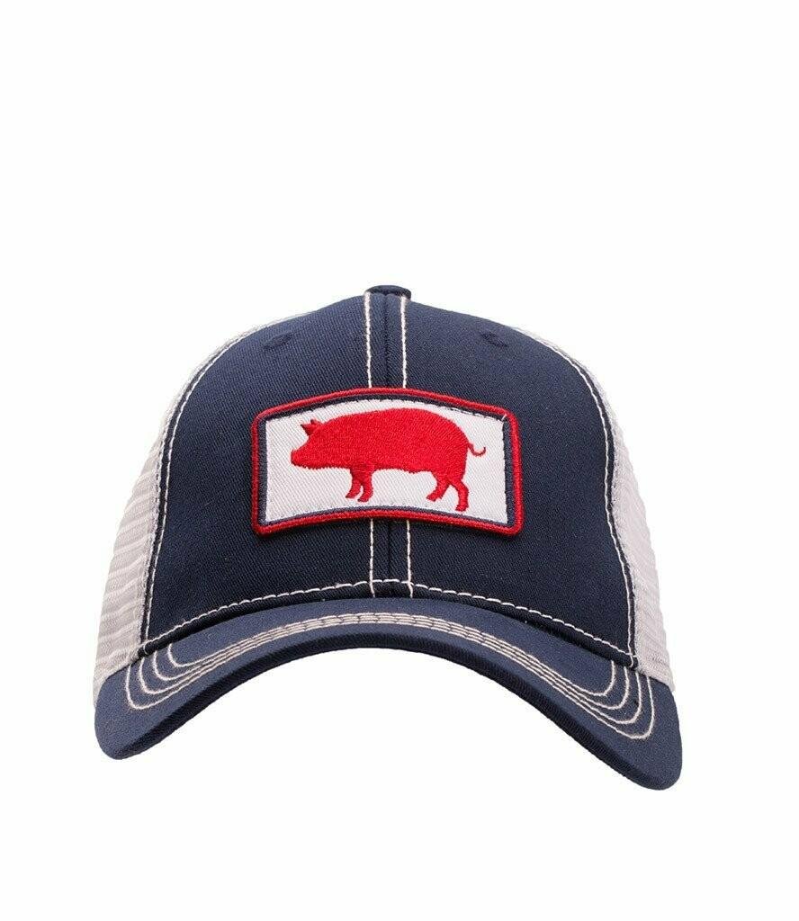 Southern Hooker Pig Logo Trucker Hat NAVY
