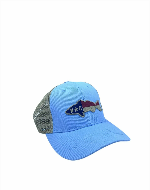 Southern Hooker NC Drum Flag Trucker Hat CAROLINA BLUE