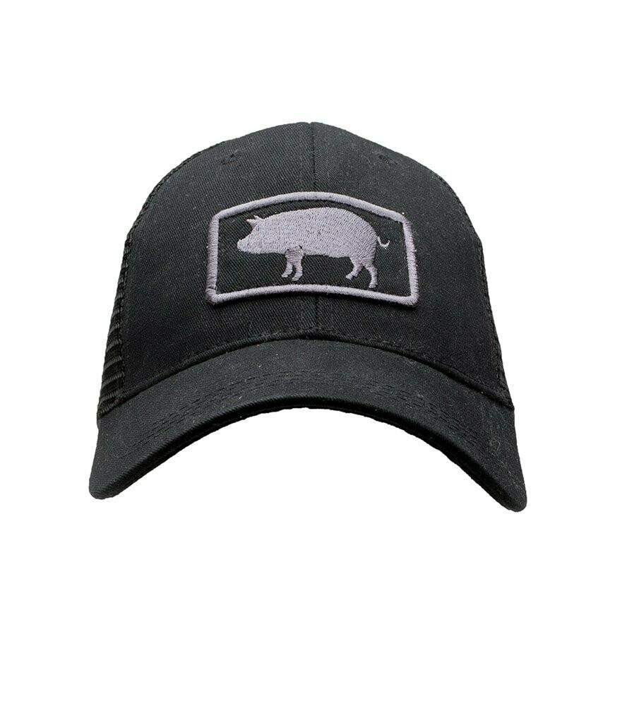 Southern Hooker Pig Logo Trucker Hat BLACKOUT