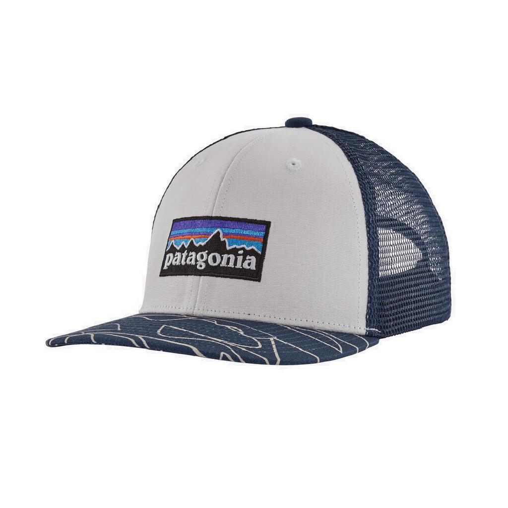 Patagonia Kid's P-6 Logo Trucker Hat WHITE/BARTOLOME