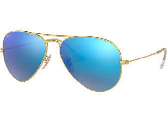 Ray Ban Aviator Polarized MATTE GOLD/BLUE MIRROR