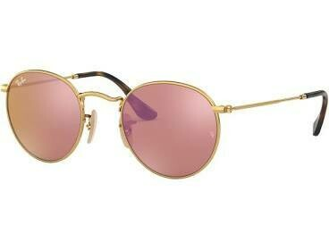 Ray Ban Round Flat Lens GOLD/COPPER FLASH