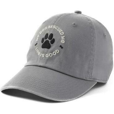 Life is good Chill Cap My Dog Rescued Me SLATE GRAY