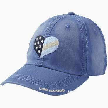 Life is good Chill Cap Sunwashed Flag Heart VINTAGE BLUE