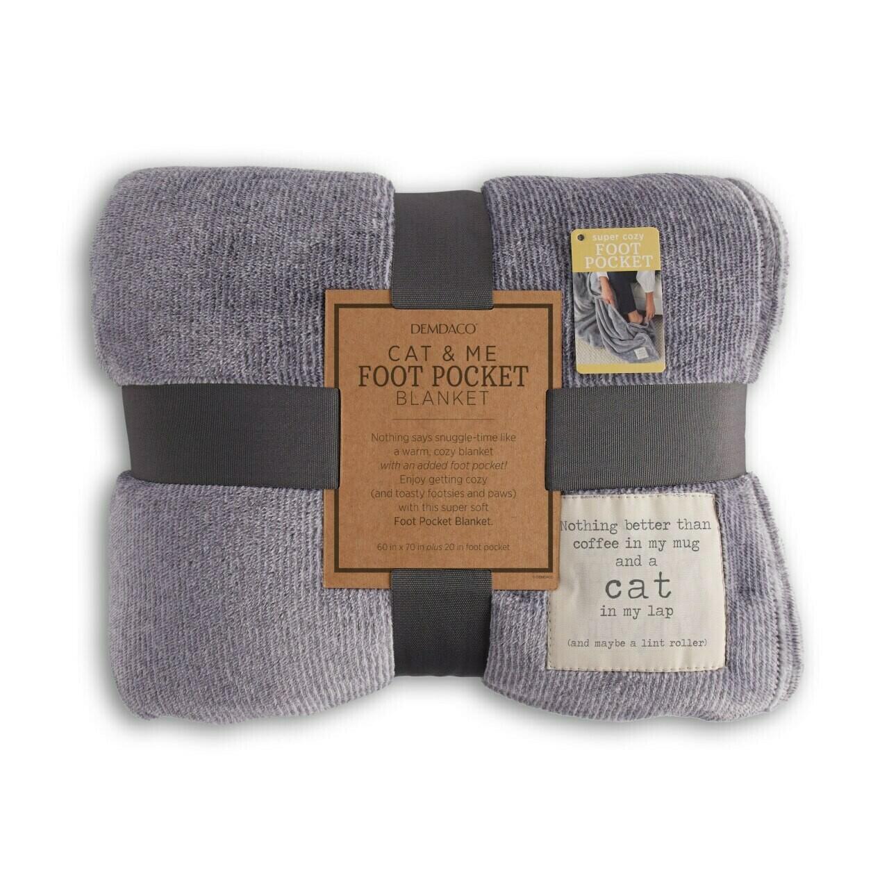 Demdaco Cat & Me Foot Pocket Blanket GRAY